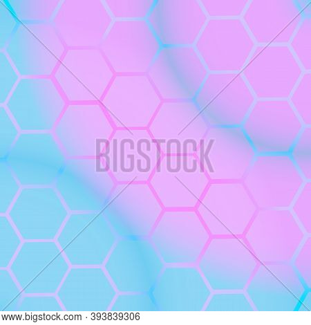 Abstract Multicolored Tech Background With Honeycomb Elements. High-tech Vector Illustration.
