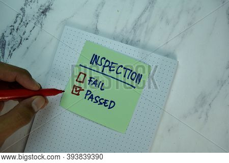 Inspection Write On Sticky Note Isolated On Wooden Table. Supported By Additional Service. Business