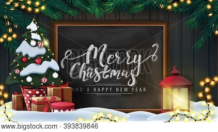 Merry Christmas And Happy New Year, Postcard With Wooden Wall, Christmas Tree Branches, Garland, Cha