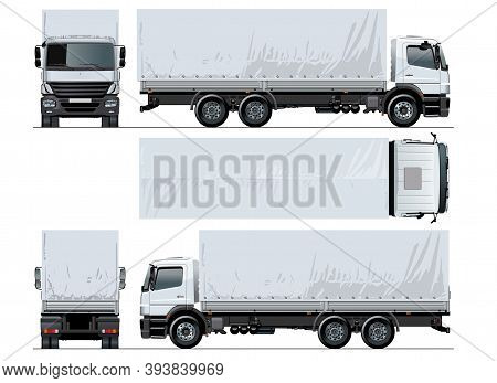 Vector Awning Flatbed Truck Mockup Isolated On White For Car Branding And Advertising. Available Eps