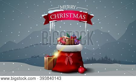 Merry Christmas, Postcard With Red Sign Of Ribbon With Icicles And Santa Claus Bag With Presents On