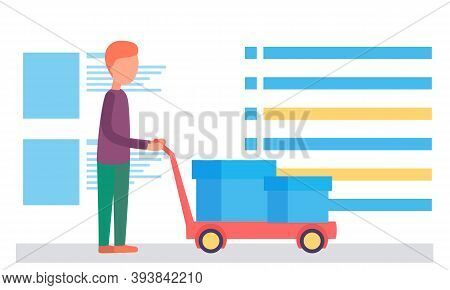 Man With Containers On Truck. Delivery Worker Rolling Cardboard Box, Cargo Trolley Pushcart, Courier