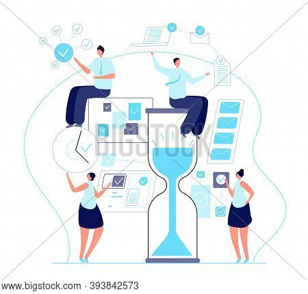 Organized People. Personal Business Plan, Strategic Planning Or Work Organization. Agenda Task Team