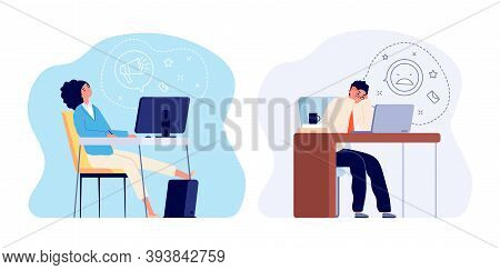 Burnout At Work. Tired Woman, Stress Man Worker At Office. Flat Overwhelmed Characters, Sleep Female
