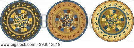 Plate With Ornaments In The Form Of Rock Art. Painting In A Circle. Vector Graphics.