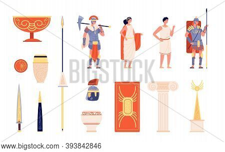 Ancient Rome Elements. People And Weapons, Isolated Roman Empire Warrior. Greek Amphora, Europe Hist