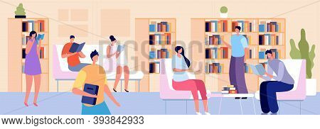 People In Library. Person Read, Young Adult With Books In Bookstore. Students Sitting In Room With B