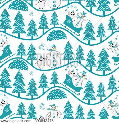 Vector Snowman And Baby Penguin Sledging And Walking In Forest. Seamless Vector Pattern Background.