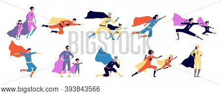 Superhero Family. Parents Kids In Costume, Strong Super Man Characters. Isolated Heroes Father Mothe