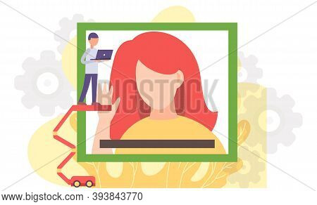 Videoconferencing, Online Meeting Workspace. Video Call Chat Conference. Woman And Man Speaking Over