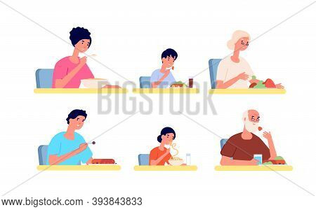 People Eating. Girl Eat Noodle, Young Adult Woman Man In Cafe Or Restaurant. Fast Food, Breakfast Di