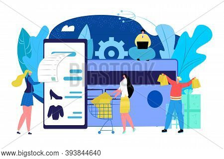 Credit Card With Money, Business Payment Concept Vector Illustration. Banking Pay Technology With Pl