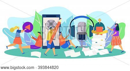 Podcasting Team Communication, People Use Audio Technology For Radio Media Vector Illustration. Reco