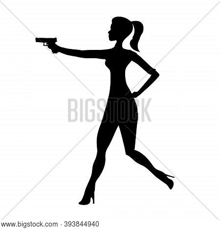 Firing Girl Abstract Silhouette, Running Female Isolated Silhouette. Beautiful Woman Spy In Shootout
