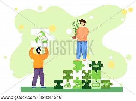 Zero Waste Lifestyle Concept. Vector Illustration With People And Zero Waste Elements In The Form Of
