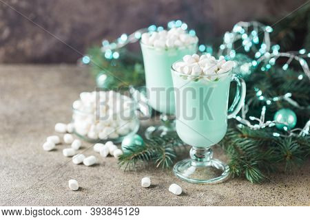 Homemade Peppermint Hot Chocolate With Marshmallows For Christmas Holiday