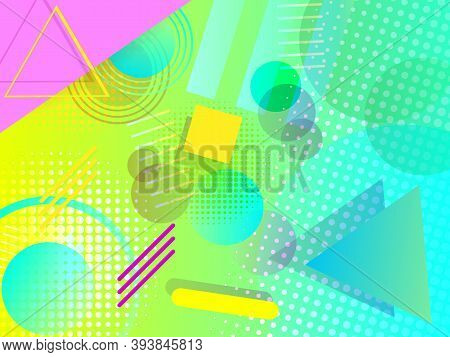 Abstract Geometric Poster In The Fashionable Memphis Style Of The 80s-90s. Modern Composition With G