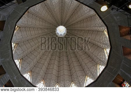Nazareth, Israel - May 7, 2011: This Is An Inside View Of The Central Dome Of The Modern Building Of
