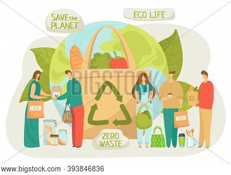Recycle Eco Bag, Zero Plastic Waste For Environment Ecology, Vector Illustration. Flat Organic Reuse