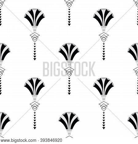 Vector Art Deco Stylized Fanning Flower Seamless Pattern Background. Monochrome Geometric Backdrop W