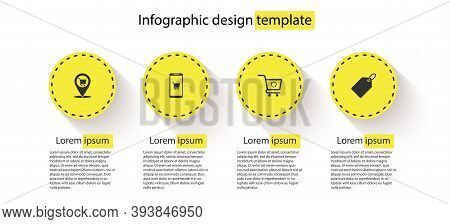 Set Location Shopping Cart, Mobile And, Refresh And Label Template Price Tag. Business Infographic T