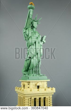 Lego Liberty Statue, Mini Copy Of Liberty Statue In Lego Architecture Addition. Adult Person Gathers