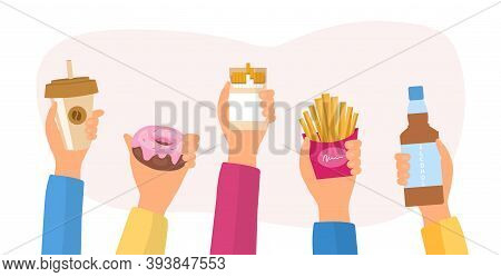 Unealthy Lifestyle Habits And Obesity And Bad Health Concept. Hands Holding Fast Junk Food, Bag Habi