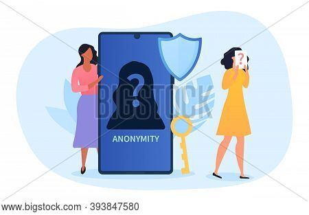Anonymity Abstract Concept, Female Character Hiding Behind Huge Smartphone With Anonymous Unrecogniz
