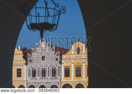Telc, Colored Renaissance And Baroque Houses With High Gables And Arcades. Town Square. Czech Republ