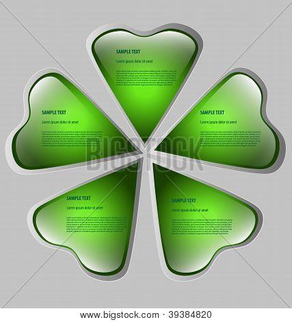 Cloverleaf-shaped presentation/option template