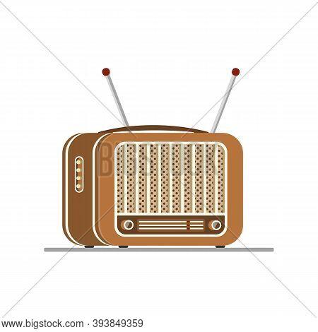 Brown Old Radio Tuner. Vector Illustration Of Vintage Radio Receiver, Flat Style. Retro Radio.