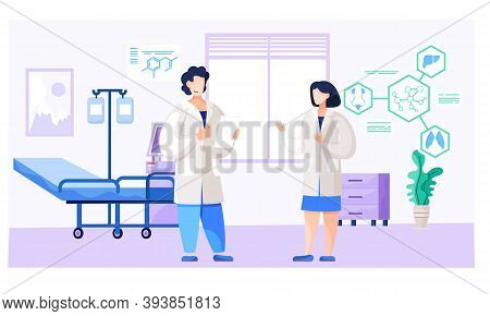 Medicine Teamwork Concept With Doctors In Consulting Process. Practitioner Doctors Young Man And Wom