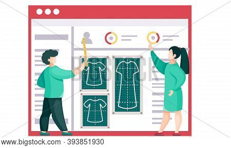 Team Explains A Plan For Sewing Clothes To The Seamstresses. Professionals Show The Principles Of Ta