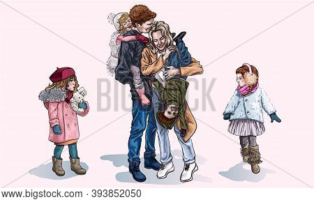 Parents And Their Kids Walking In The Winter, Cartoon Style. Mom And Dad Laugh While Holding Childre