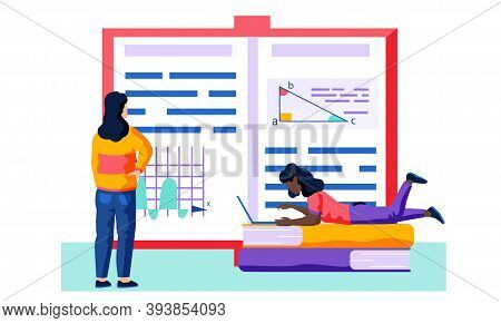 Female Employee Is Lookingg At An Unfolded Book With Text And Various Pictures Of Charts, Graphs And