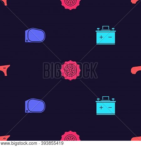 Set Car Battery, Mirror, Wheel And Fender On Seamless Pattern. Vector
