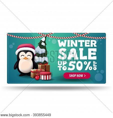 Winter Sale, Up To 50 Off, Green Discount Banner With Penguin In Santa Claus Hat With Presents And P