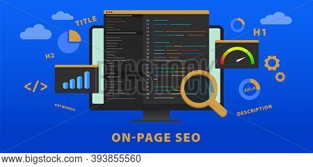 On-page Seo (search Engine Optimization) Website Vector Banner Concept. Change Of Title, Description