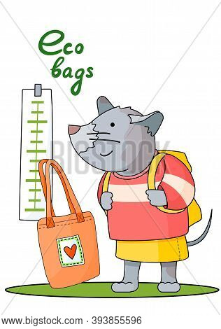 Cartoon Mouse Stands And Looks At The Height Meter With A Knapsack Behind Her Back And Fights For Th