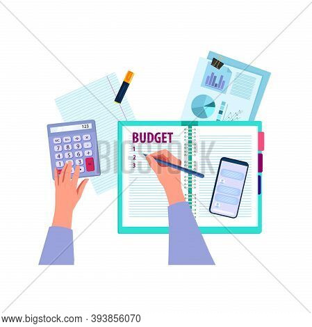 Family Budget Planning Vector Finance Illustration With Hands, Calculator, Notebook, Documents, Grap