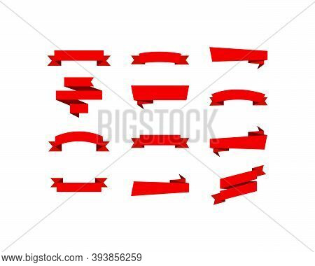 Red Ribbons. Christmas Red Ribbons, Isolated. Collection Of 12 Red Ribbons In Trendy Flat Xmas Desig