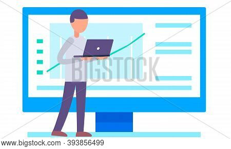 Manager Is Working And Analyzing Financial Statistics On The Background. Male Employee Standing With