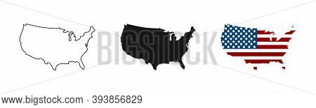Usa Map. Usa Vector Icons. American Map. United States Of America Map In Flat And Lines Design. Vect