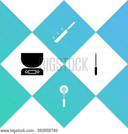 Set Electronic Scales, Pizza Knife, Frying Pan And Knife Sharpener Icon. Vector