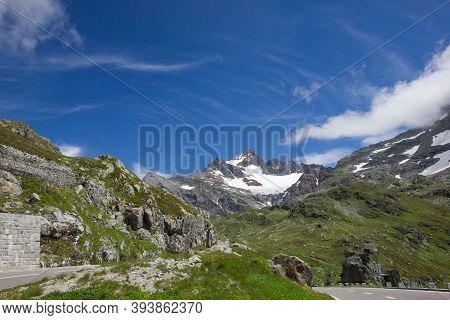 Beautiful Panorama At The Alpine Pass Susten