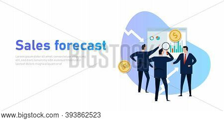 Sales Forecast Businessman Present Prediction In Business With Team Revenue