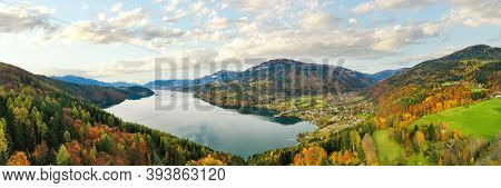 Millstätter See And Döbriach. Beautiful Lake In Carinthia In The Austrian Alps During Autumn Time.
