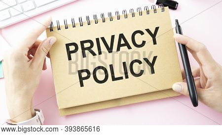 Privacy Policy Private Security Protection, Businessman With Protective Gesture And Text Privacy
