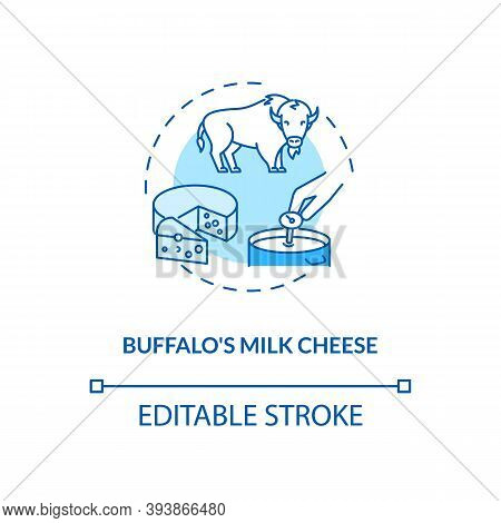 Buffalo Milk Cheese Turquoise Concept Icon. Mozzarella Product. Organic Farm Food With Lactose. Dair