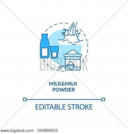 Milk And Milk Powder Turquoise Concept Icon. Lactose Liquid Product. Nutrient Instant Formula. Dairy